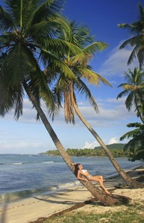 Young woman in bikini laying on leaning palm tree, Las Galeras beach, Samana peninsula, Dominican Republic photo
