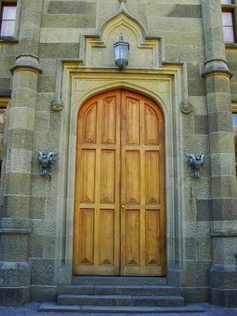 voroncov: Entrance of nothern facade, Vorontsov palace, Alupka, Crimea, Ukraine Stock Photo