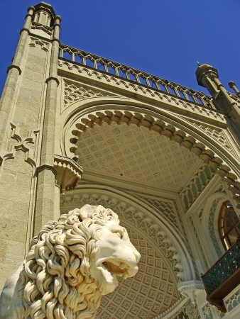 Sculptire of Medici lion, southern facade of Vorontsov palace, Alupka, Crimea, Ukraine photo