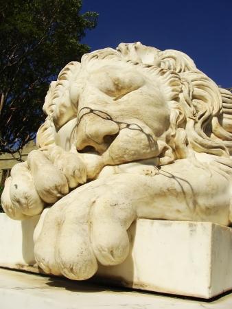 Sculptire of Medici lion, southern facade of Vorontsov palace, Alupka, Crimea, Ukraine Stock Photo