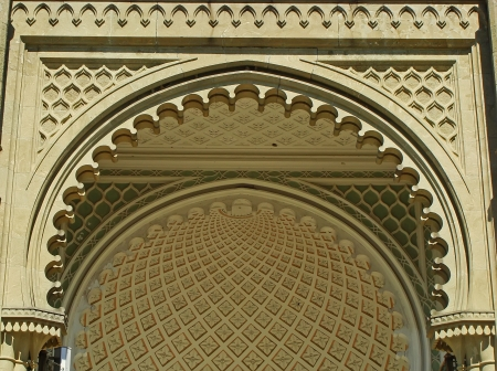 Close up of southern facade of Vorontsov palace, Alupka, Crimea, Ukraine photo