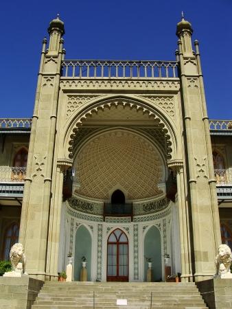voroncov: Southern facade of Vorontsov palace, Alupka, Crimea, Ukraine Stock Photo