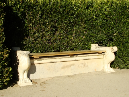 Bench at southern facade of Vorontsov palace, Alupka, Crimea, Ukraine photo