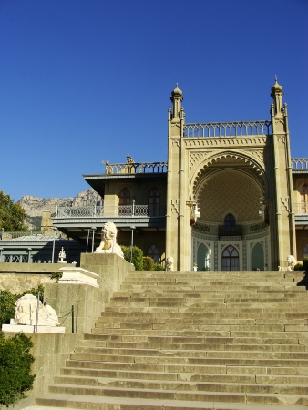 Southern facade of Vorontsov palace, Alupka, Crimea, Ukraine photo
