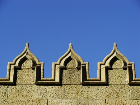 Decorative elements of stone wall, Vorontsov palace, Alupka, Crimea, Ukraine photo