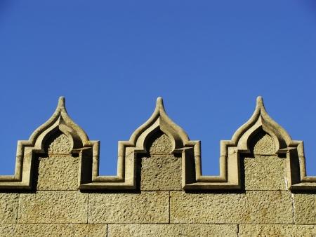 voroncov: Decorative elements of stone wall, Vorontsov palace, Alupka, Crimea, Ukraine
