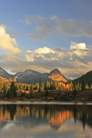 rivers mountains: Molas lake and Needle mountains, Weminuche wilderness, Colorado, USA