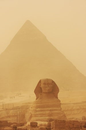 chephren: The Sphinx and Pyramid of Khafre in a sand storm, Cairo, Egypt