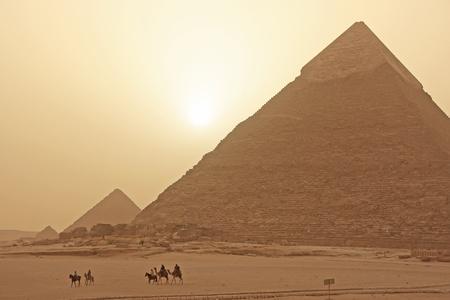 egypt pyramid: Pyramid of Khafre in a sand storm, Cairo, Egypt