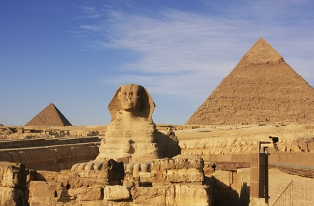 The Sphinx and Pyramid of Khafre, Cairo, Egypt photo