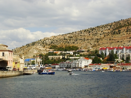 Balaklava town and Balaklava Bay, Crimea, Ukraine photo