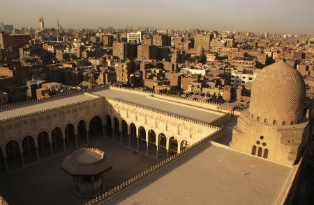 minaret: View of old Cairo form Mosque minaret, Egypt Stock Photo
