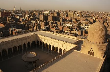 Weergave van het oude Cairo vorm Moskee minaret, Egypte Stockfoto