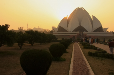 Lotus Temple at sunset, New Delhi, India photo
