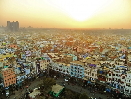 View of Delhi from Jama Masjid, India Stock Photo