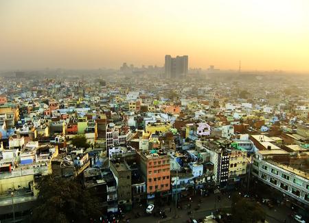 View of Delhi from Jama Masjid, India Banco de Imagens