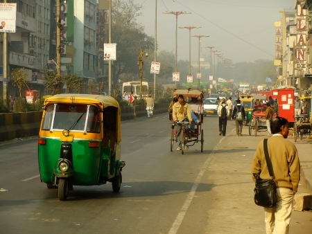 busy street: Busy street of Delhi, India Editorial