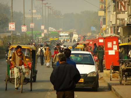 Busy street of Delhi, India