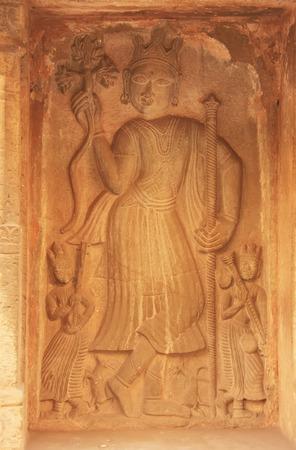 baori: Decorative carvings on the wall, Raniji ki Baori, Bundi, Rajasthan, India Stock Photo