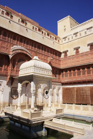 bikaner: Main courtyard of Junagarh fort, Bikaner, Rajasthan, India Stock Photo