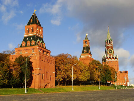 Kremlin wall and Spasskaya Tower, Moscow, Russia photo