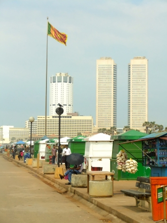 Colombo skyline and Galle Face beach, Sri Lanka