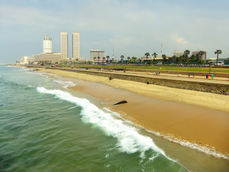 Colombo skyline and Galle Face beach, Sri Lanka photo