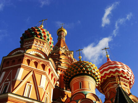 Close up of Cathedral of Vasily the Blessed, Red Square, Moscow, Russia