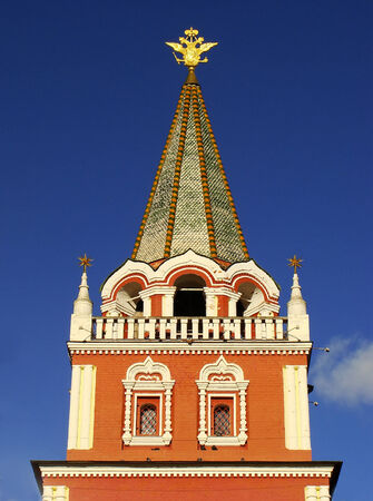 Close up of Red Square Gate Tower, Moscow, Russia photo