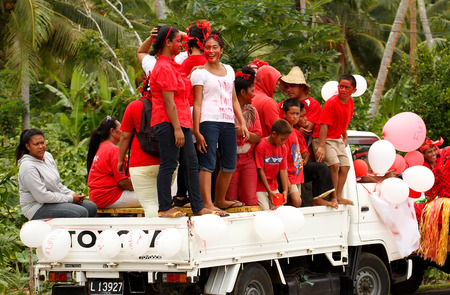 People celebrate arriving Fuifui Moimoi on Vavau island, Tonga Editorial
