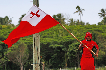 Tongan man celebrate arriving Fuifui Moimoi on Vavau island, Tonga
