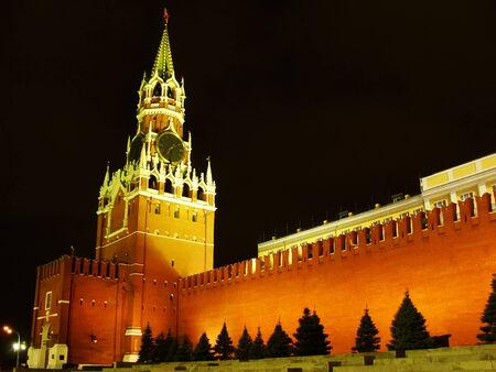 Spasskaya Tower at night, Moscow Kremlin, Russia photo