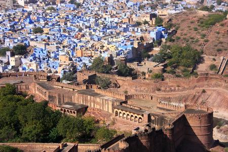 Jodhpur stad gezien vanaf Mehrangarh Fort, Rajasthan, India Stockfoto