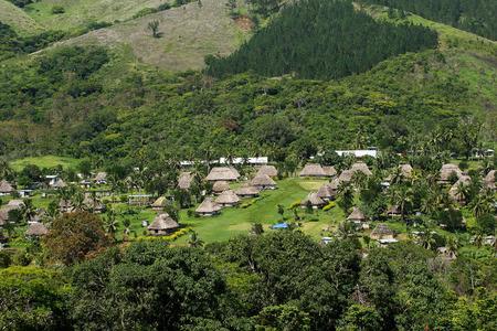 Traditional houses of Navala village, Viti Levu island, Fiji Фото со стока