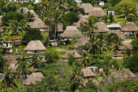 Traditional houses of Navala village, Viti Levu island, Fiji Stok Fotoğraf