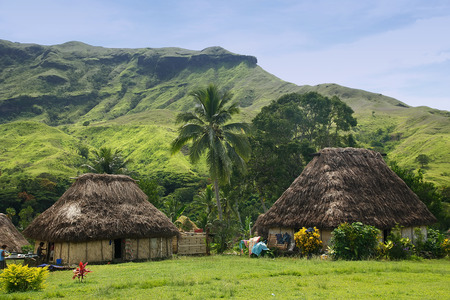 Traditional houses of Navala village, Viti Levu island, Fiji Stock Photo
