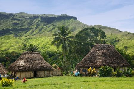 Traditionele huizen van Navala dorp, Viti Levu eiland, Fiji