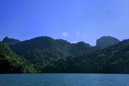 geoforest: Island of the Pregnant Maiden lake, Marble Geoforest Park, Langkawi, Malaysia Stock Photo