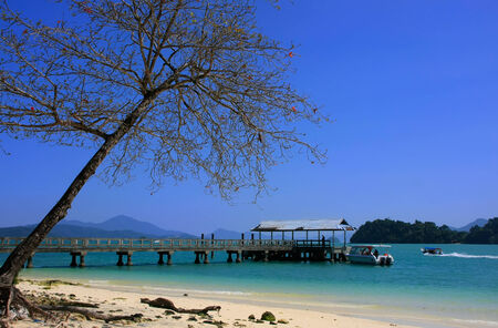 Tropical island beach, Marble Geoforest Park, Langkawi, Malaysia