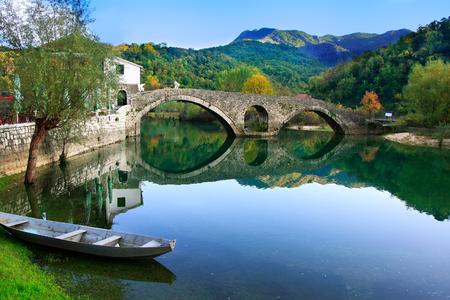 Bogenbrücke spiegelt sich im Fluss Crnojevica, Montenegro, Balkan