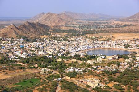 saraswati: Aerial view of Pushkar city, Rajasthan, India Stock Photo