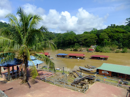 Floating restaurants on Tembeling river, Taman Negara National Park, Malaysia photo