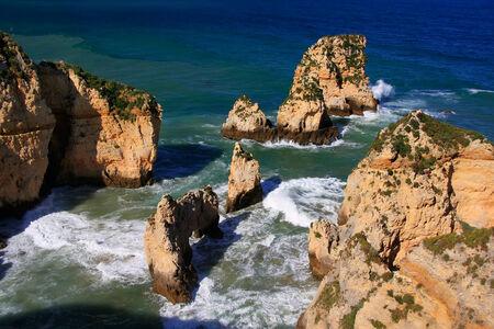 region of algarve: Beautiful cliffs of Ponta de Piedade, Lagos, Algarve region, Portugal  Stock Photo