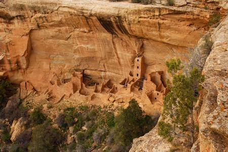 Square Tower House, Mesa Verde National Park, Colorado, USA Stock Photo