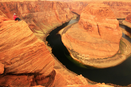 Horseshoe bend seen from overlook, Arizona