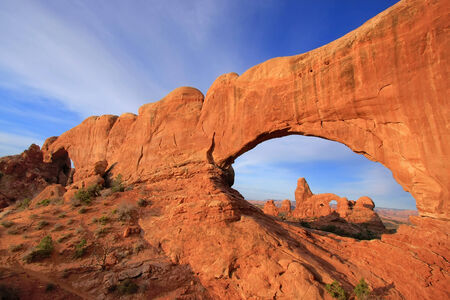 north window arch: Turret Arch seen from North Window Arch in Arches National Park, Utah