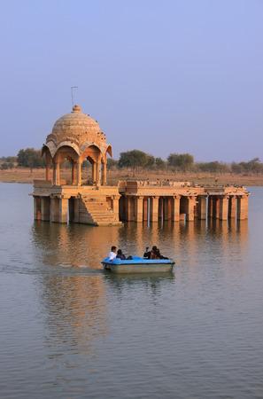 sagar: Gadi Sagar temple at Gadisar lake, Jaisalmer, Rajasthan, India