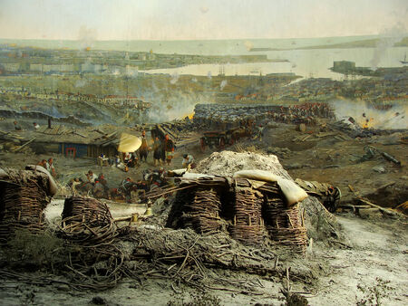 siege: Section of the Siege of Sevastopol panorama, Defence of Sevastopol Museum, Crimea, Russia