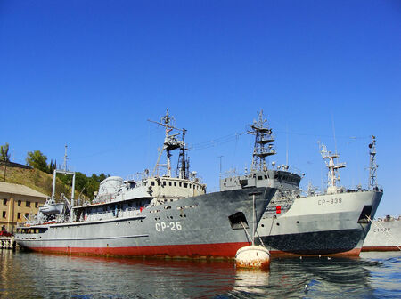 Ukrainian military ships docked at Sevastopol harbor, Crimea