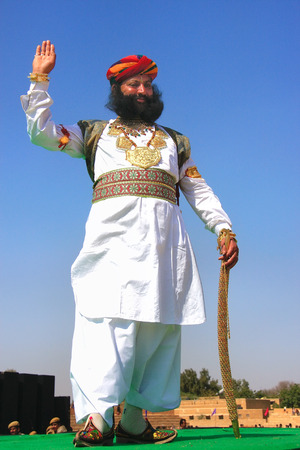Indian man in traditional dress taking part in Mr Desert competition, Jaisalmer, Rajasthan, India